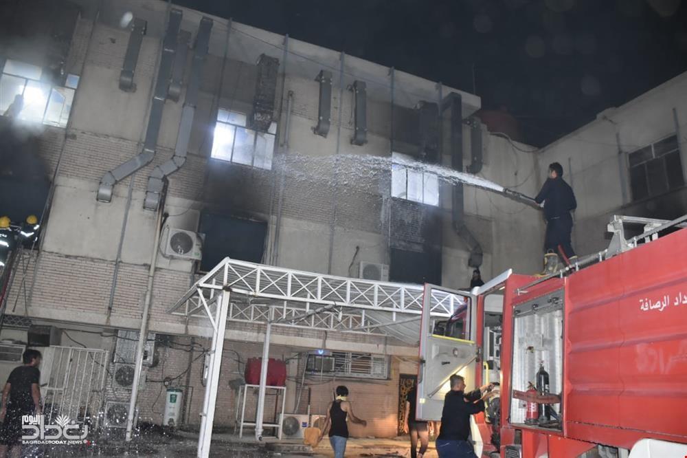 الحريق وقع في الطابق الأوسط من مستشفى ابن الخطيب المخصص لإنعاش المرضى