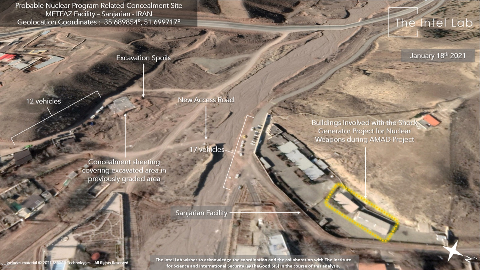 صور أقمار صناعية جديدة تظهر نشاطا غير عادي في موقع سانجاريان الإيراني النووي