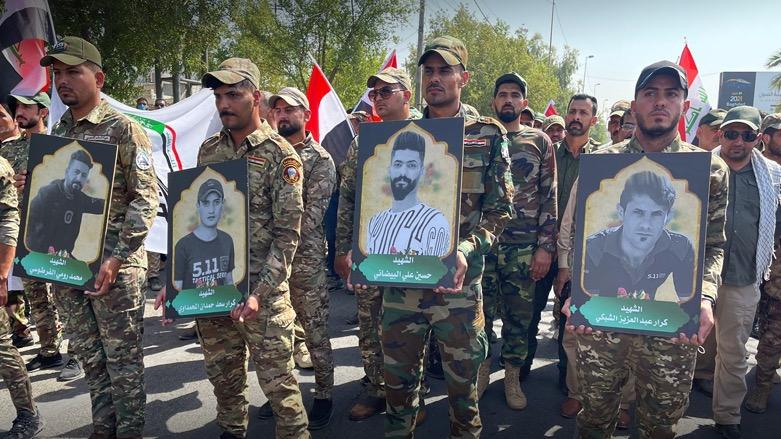 """تشييع قتلى ميليشيا """"كتائب سيد الشهداء"""" في بغداد"""